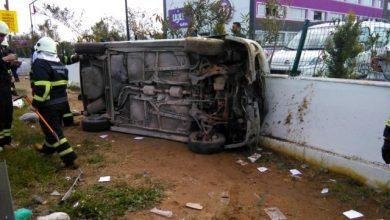 Photo of Aydın Efeler'de otomobil takla attı! Okulun duvarına çarparak durabildi